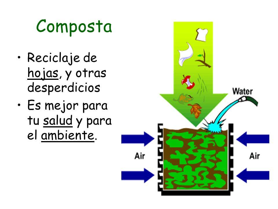 Composta Reciclaje de hojas, y otras desperdicios Es mejor para tu salud y para el ambiente.