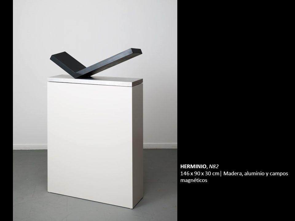 HERMINIO, N82 146 x 90 x 30 cm Madera, aluminio y campos magnéticos