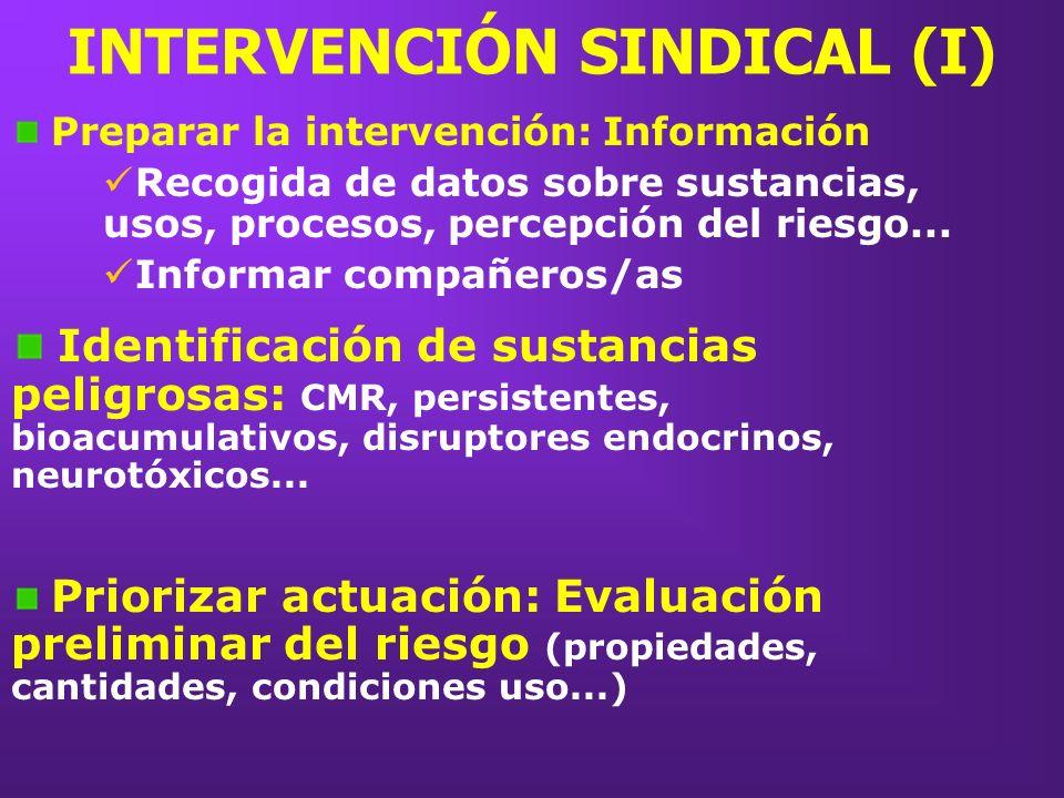 INTERVENCIÓN SINDICAL (I) Preparar la intervención: Información Recogida de datos sobre sustancias, usos, procesos, percepción del riesgo... Informar