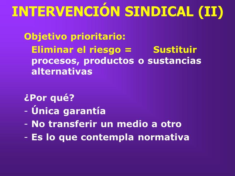 INTERVENCIÓN SINDICAL (II) Objetivo prioritario: Eliminar el riesgo =Sustituir procesos, productos o sustancias alternativas ¿Por qué? -Única garantía