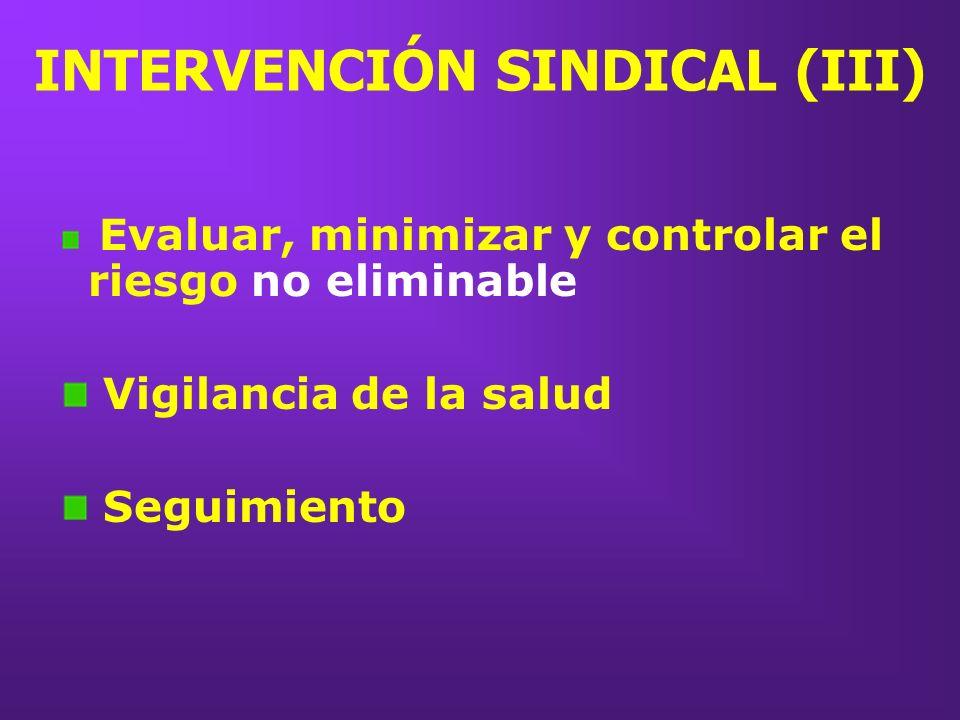 INTERVENCIÓN SINDICAL (III) Evaluar, minimizar y controlar el riesgo no eliminable Vigilancia de la salud Seguimiento