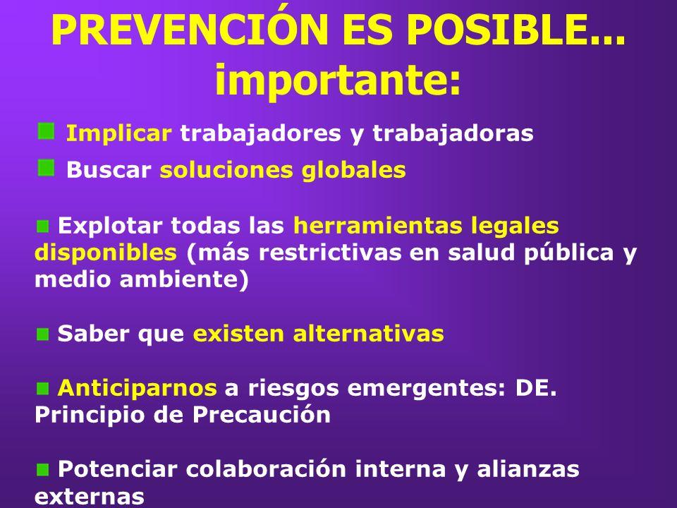 Implicar trabajadores y trabajadoras Buscar soluciones globales Explotar todas las herramientas legales disponibles (más restrictivas en salud pública