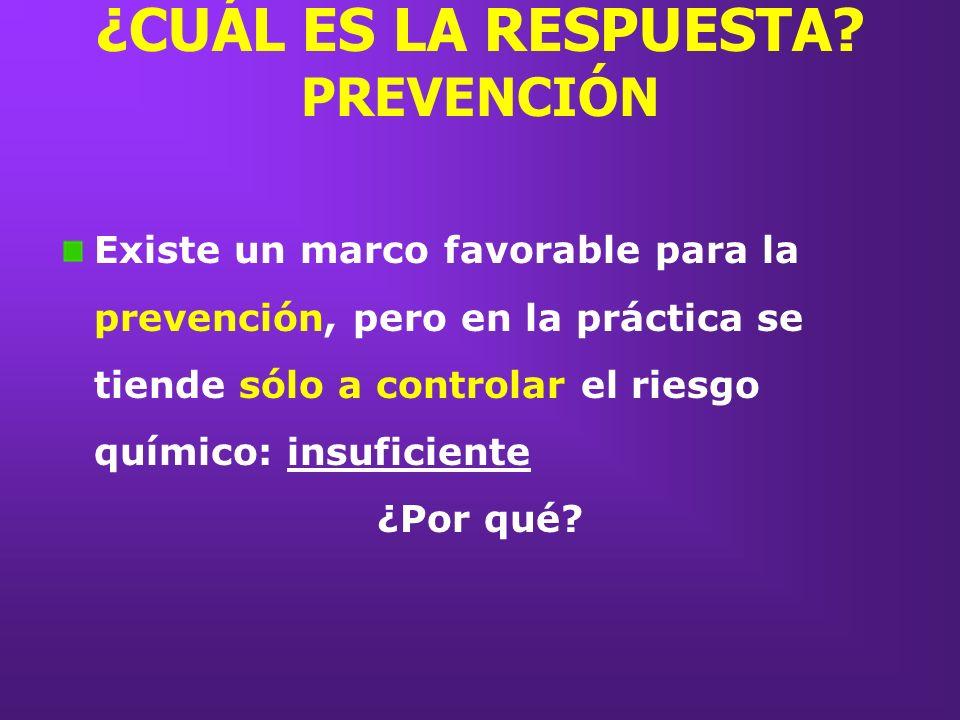 ¿CUÁL ES LA RESPUESTA? PREVENCIÓN Existe un marco favorable para la prevención, pero en la práctica se tiende sólo a controlar el riesgo químico: insu