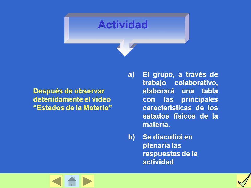 Después de observar detenidamente el video Estados de la Materia a)El grupo, a través de trabajo colaborativo, elaborará una tabla con las principales