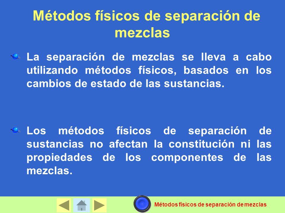 La separación de mezclas se lleva a cabo utilizando métodos físicos, basados en los cambios de estado de las sustancias. Los métodos físicos de separa