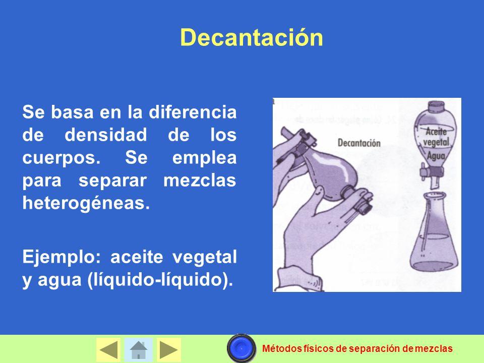 Decantación Se basa en la diferencia de densidad de los cuerpos. Se emplea para separar mezclas heterogéneas. Ejemplo: aceite vegetal y agua (líquido-