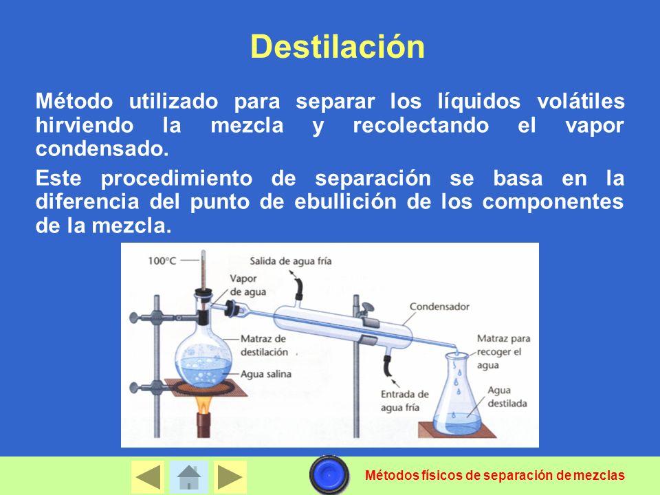 Destilación Método utilizado para separar los líquidos volátiles hirviendo la mezcla y recolectando el vapor condensado. Este procedimiento de separac