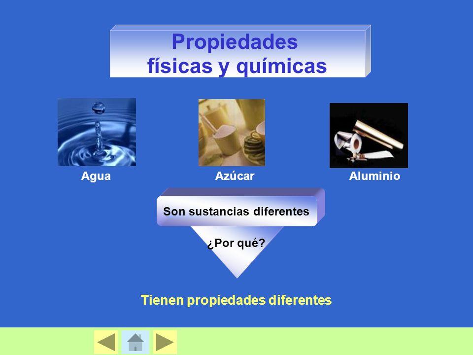 Propiedades físicas y químicas AguaAzúcarAluminio ¿Por qué? Son sustancias diferentes Tienen propiedades diferentes