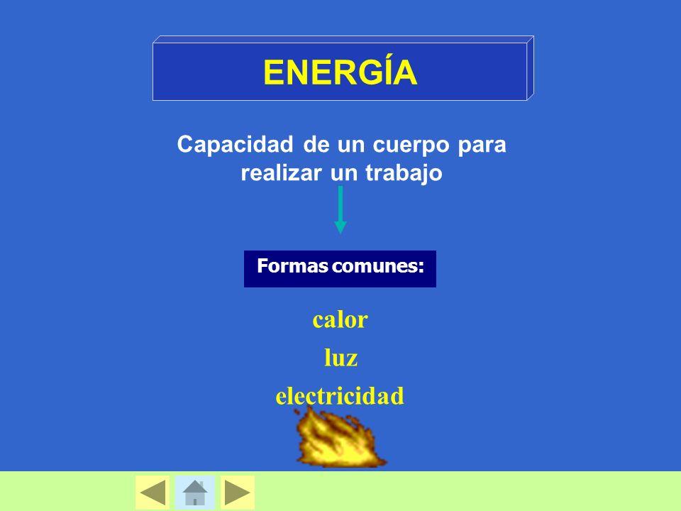 Capacidad de un cuerpo para realizar un trabajo Formas comunes: calor luz electricidad ENERGÍA