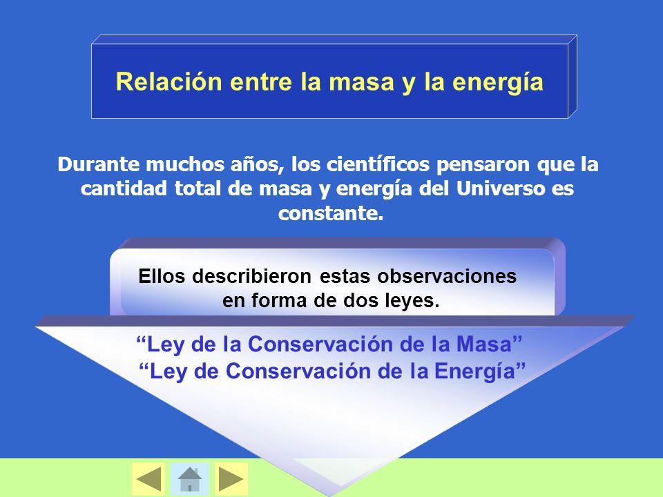 Durante muchos años, los científicos pensaron que la cantidad total de masa y energía del Universo es constante. Relación entre la masa y la energía E