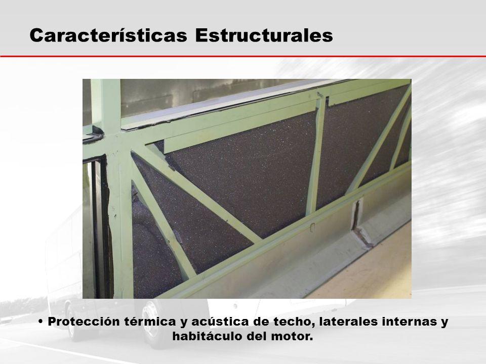 Protección térmica y acústica de techo, laterales internas y habitáculo del motor.