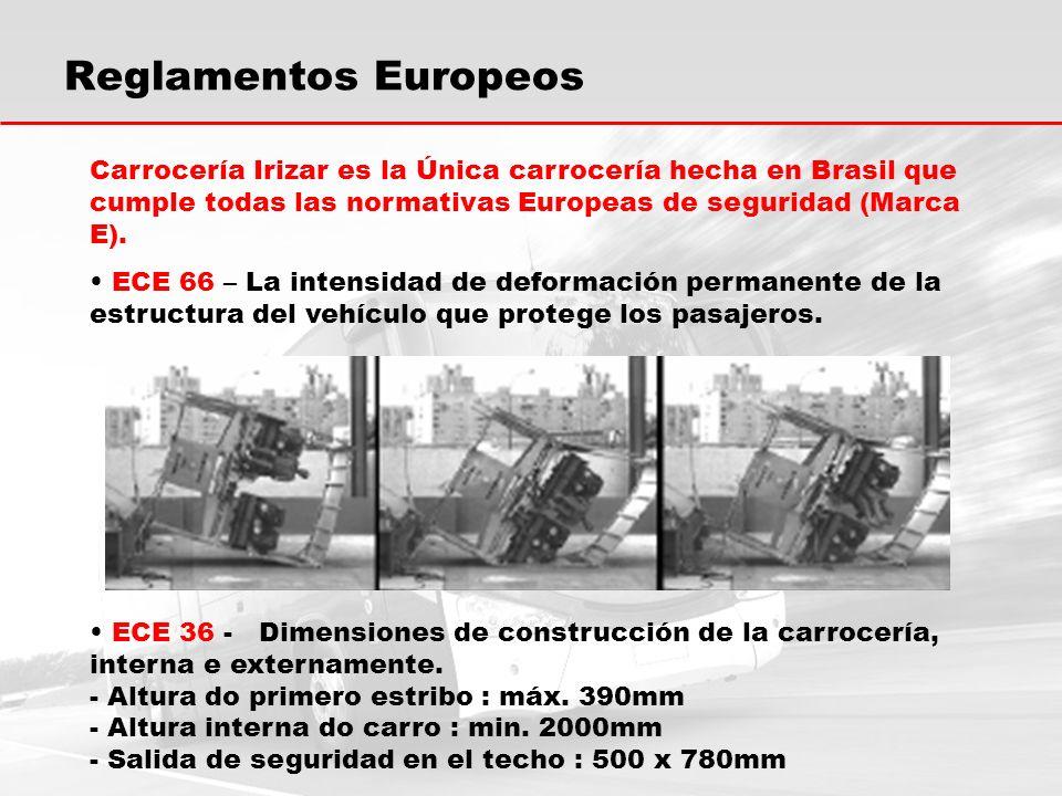 Carrocería Irizar es la Única carrocería hecha en Brasil que cumple todas las normativas Europeas de seguridad (Marca E).