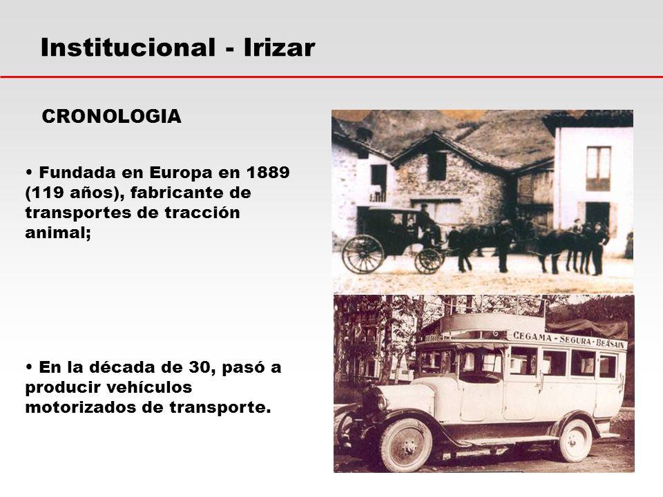 Institucional - Irizar Fundada en Europa en 1889 (119 años), fabricante de transportes de tracción animal; CRONOLOGIA En la década de 30, pasó a producir vehículos motorizados de transporte.