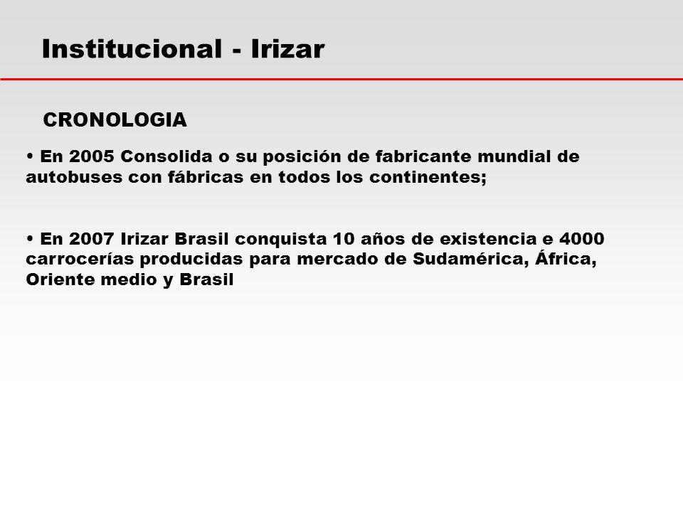 Institucional - Irizar En 2005 Consolida o su posición de fabricante mundial de autobuses con fábricas en todos los continentes; En 2007 Irizar Brasil conquista 10 años de existencia e 4000 carrocerías producidas para mercado de Sudamérica, África, Oriente medio y Brasil CRONOLOGIA