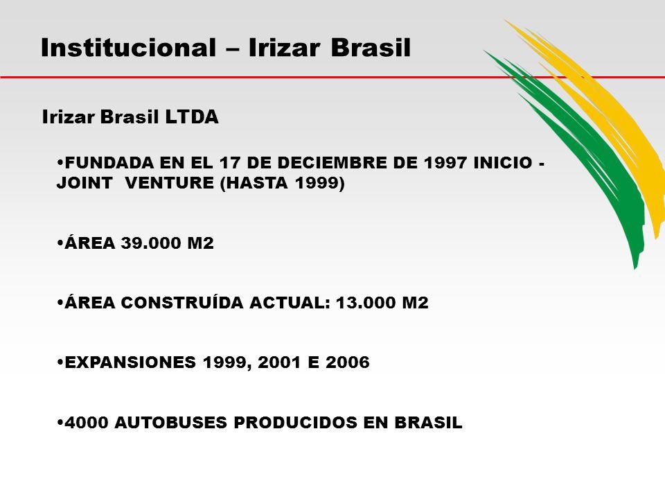 Institucional – Irizar Brasil Irizar Brasil LTDA FUNDADA EN EL 17 DE DECIEMBRE DE 1997 INICIO - JOINT VENTURE (HASTA 1999) ÁREA 39.000 M2 ÁREA CONSTRUÍDA ACTUAL: 13.000 M2 EXPANSIONES 1999, 2001 E 2006 4000 AUTOBUSES PRODUCIDOS EN BRASIL