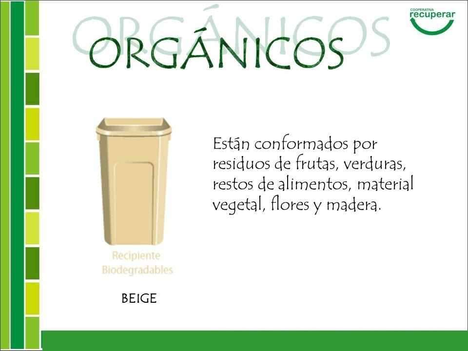 Están conformados por residuos de frutas, verduras, restos de alimentos, material vegetal, flores y madera. BEIGE