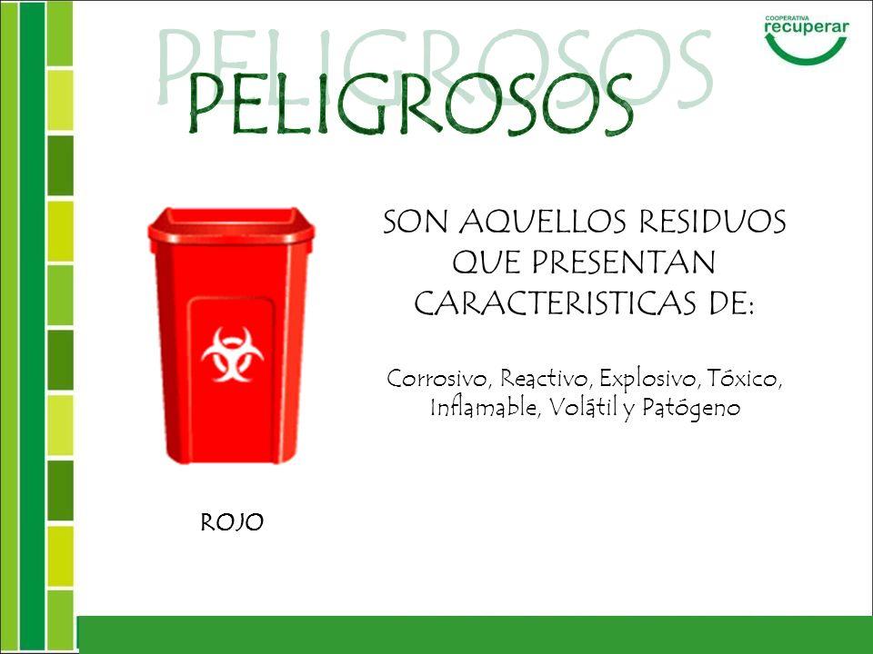 SON AQUELLOS RESIDUOS QUE PRESENTAN CARACTERISTICAS DE: Corrosivo, Reactivo, Explosivo, Tóxico, Inflamable, Volátil y Patógeno ROJO