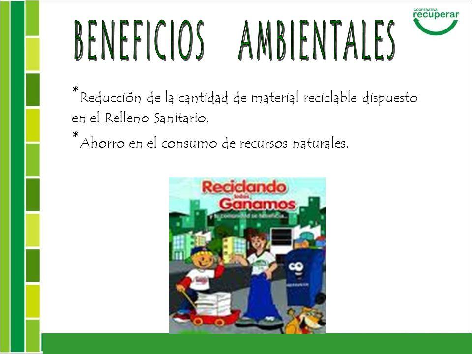 * Reducción de la cantidad de material reciclable dispuesto en el Relleno Sanitario. * Ahorro en el consumo de recursos naturales.