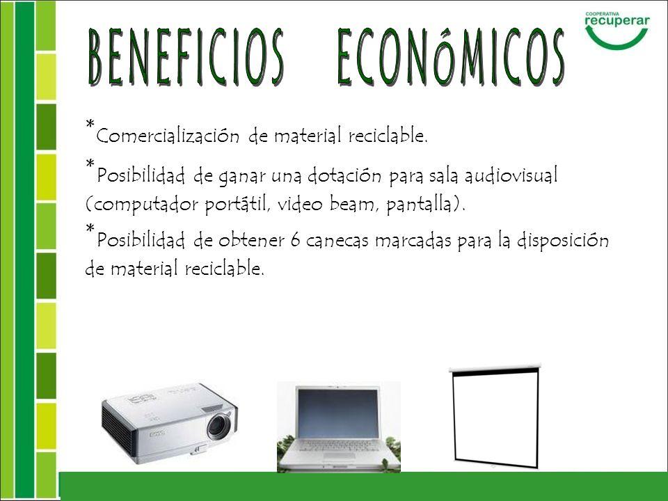 * Comercialización de material reciclable. * Posibilidad de ganar una dotación para sala audiovisual (computador portátil, video beam, pantalla). * Po