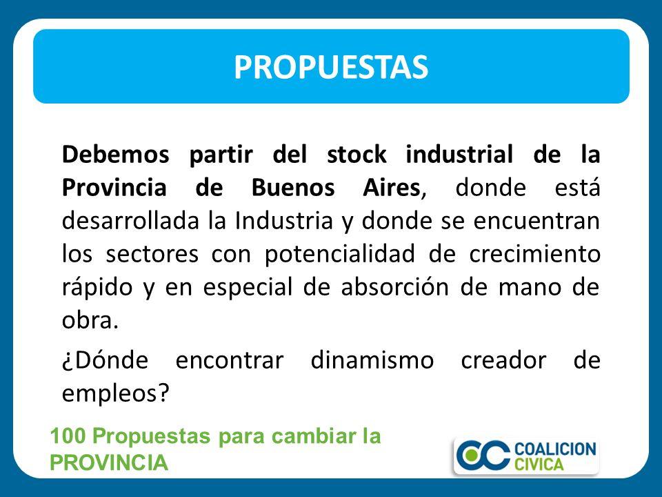 Debemos partir del stock industrial de la Provincia de Buenos Aires, donde está desarrollada la Industria y donde se encuentran los sectores con poten