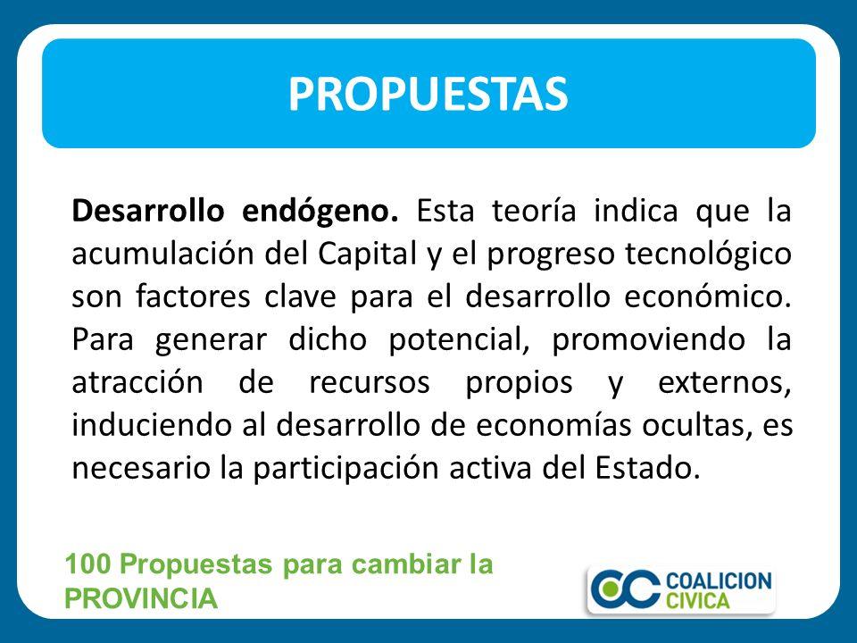 Desarrollo endógeno. Esta teoría indica que la acumulación del Capital y el progreso tecnológico son factores clave para el desarrollo económico. Para