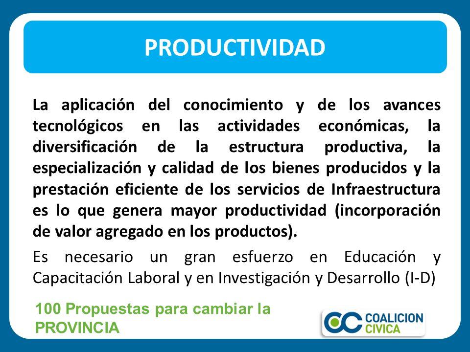 La aplicación del conocimiento y de los avances tecnológicos en las actividades económicas, la diversificación de la estructura productiva, la especia
