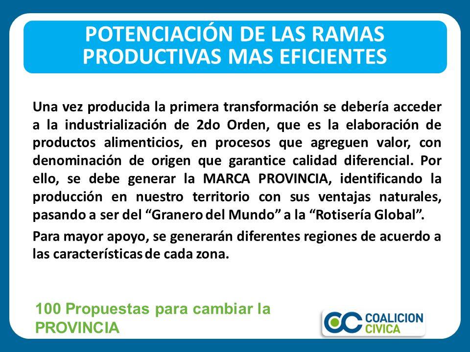 Una vez producida la primera transformación se debería acceder a la industrialización de 2do Orden, que es la elaboración de productos alimenticios, e