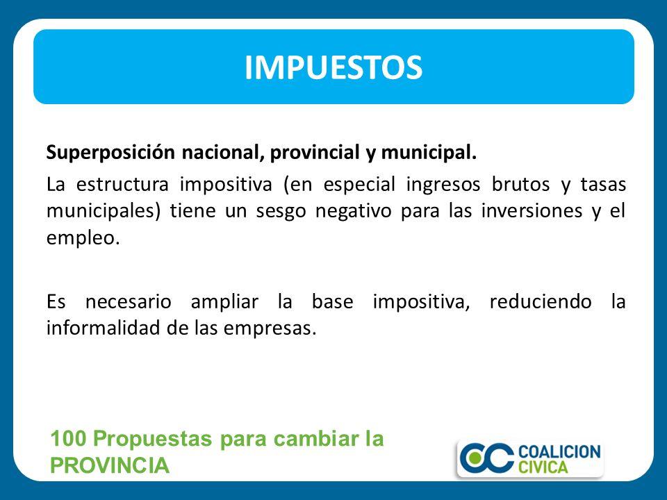 Superposición nacional, provincial y municipal. La estructura impositiva (en especial ingresos brutos y tasas municipales) tiene un sesgo negativo par