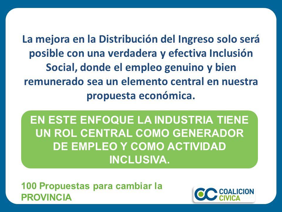 La mejora en la Distribución del Ingreso solo será posible con una verdadera y efectiva Inclusión Social, donde el empleo genuino y bien remunerado se