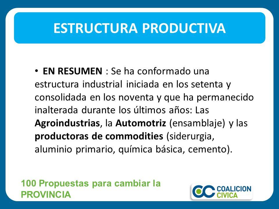 EN RESUMEN : Se ha conformado una estructura industrial iniciada en los setenta y consolidada en los noventa y que ha permanecido inalterada durante l