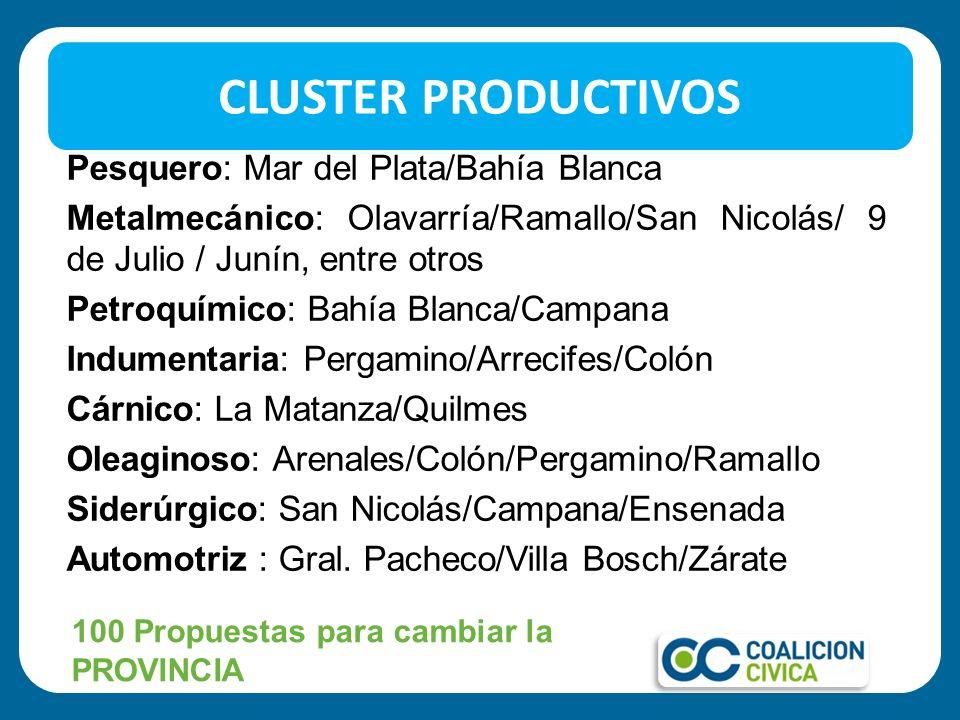 CLUSTER PRODUCTIVOS 100 Propuestas para cambiar la PROVINCIA Pesquero: Mar del Plata/Bahía Blanca Metalmecánico: Olavarría/Ramallo/San Nicolás/ 9 de J