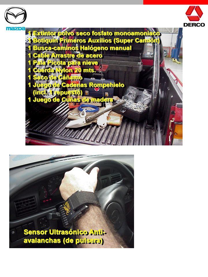 1 Extintor polvo seco fosfato monoamoniaco 1 Botiquín Primeros Auxilios (Super Camión) 1 Busca-caminos Halógeno manual 1 Cable Arrastre de acero 1 Pal