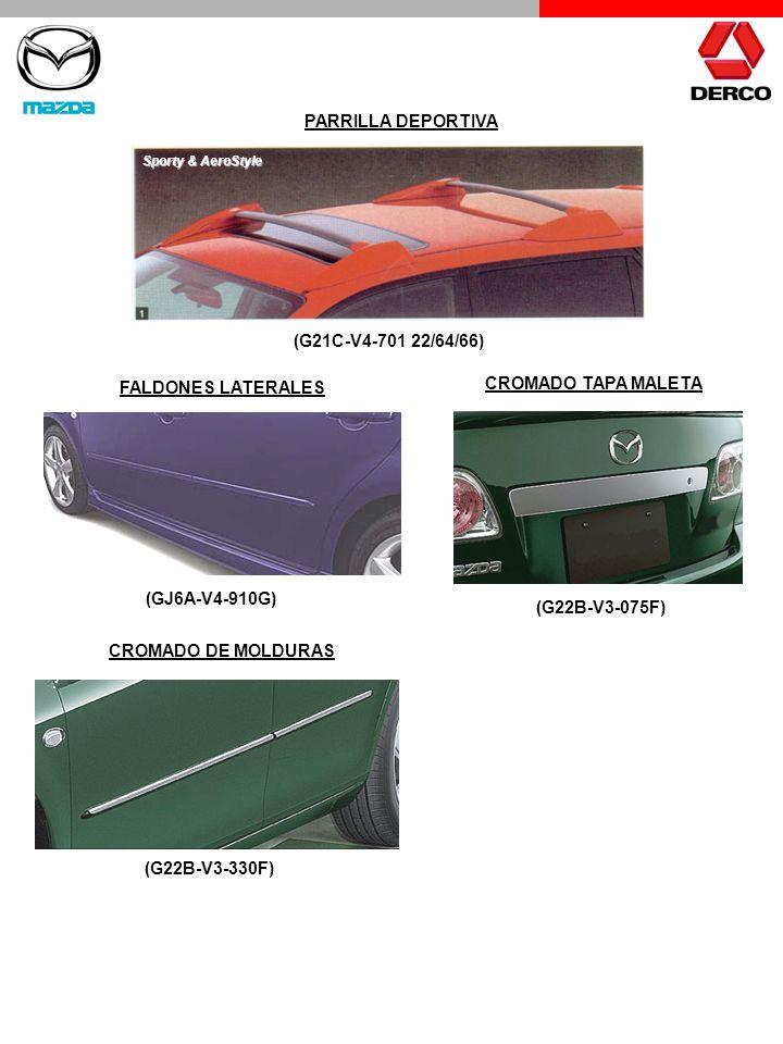 PARRILLA DEPORTIVA (G21C-V4-701 22/64/66) FALDONES LATERALES (GJ6A-V4-910G) Sporty & AeroStyle CROMADO TAPA MALETA (G22B-V3-075F) CROMADO DE MOLDURAS