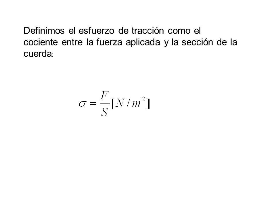 Definimos el esfuerzo de tracción como el cociente entre la fuerza aplicada y la sección de la cuerda :
