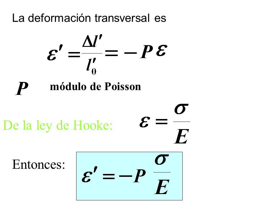 La deformación transversal es módulo de Poisson De la ley de Hooke: Entonces: