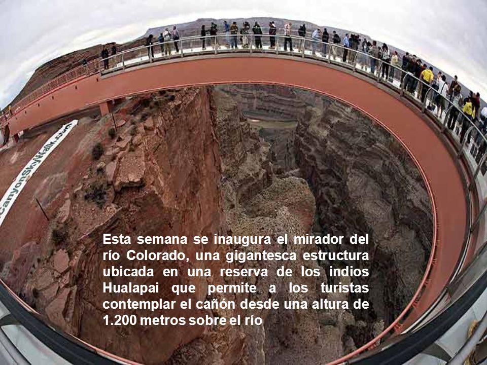 Esta semana se inaugura el mirador del río Colorado, una gigantesca estructura ubicada en una reserva de los indios Hualapai que permite a los turistas contemplar el cañón desde una altura de 1.200 metros sobre el río