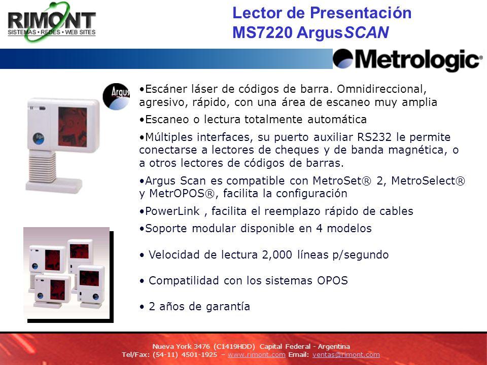 Lector de Presentación MS7220 ArgusSCAN Escáner láser de códigos de barra.