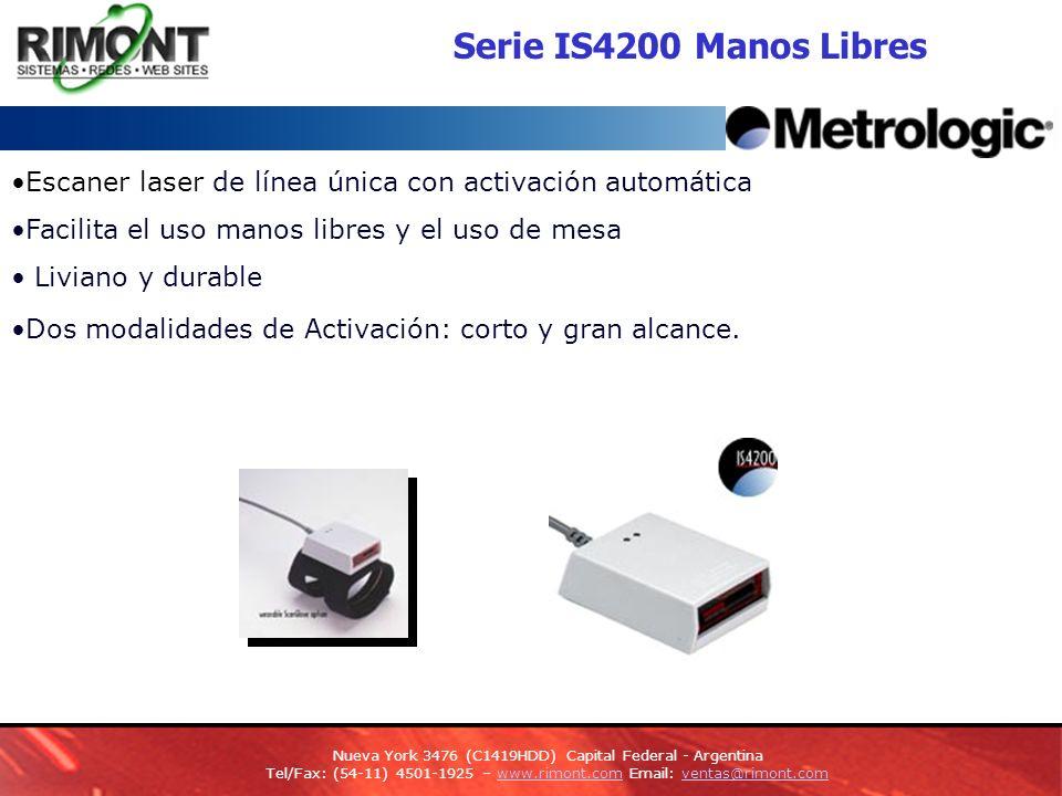 Serie IS4200 Manos Libres Escaner laser de línea única con activación automática Facilita el uso manos libres y el uso de mesa Liviano y durable Dos modalidades de Activación: corto y gran alcance.