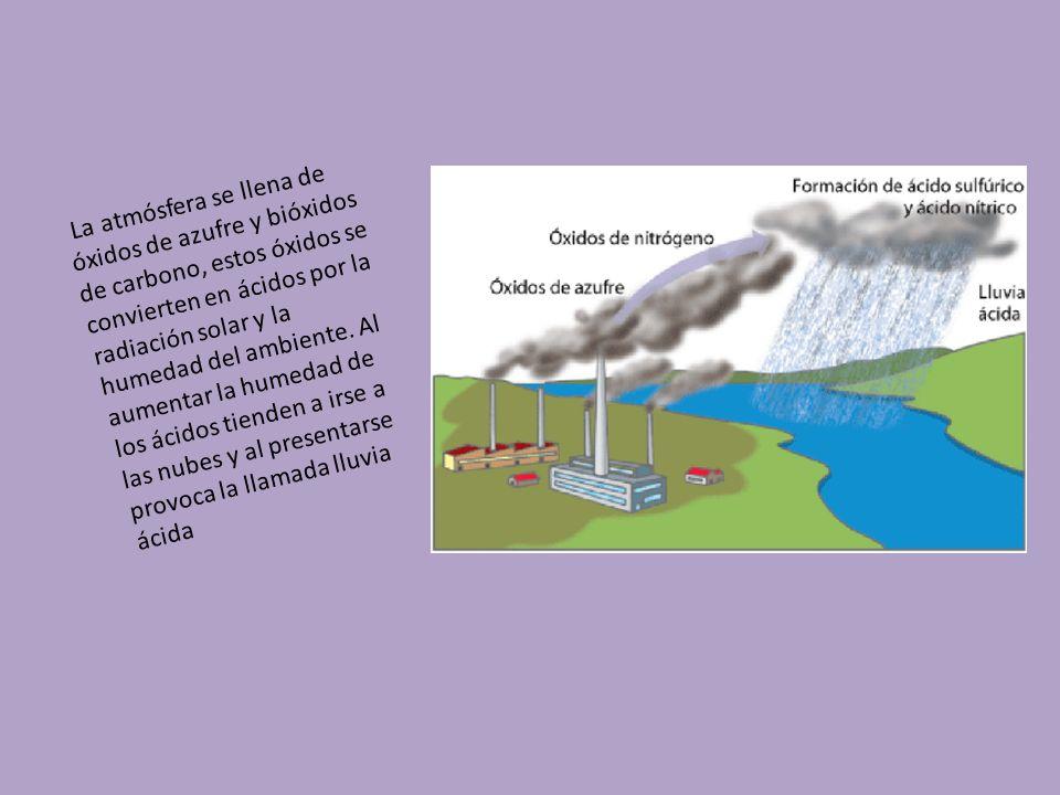 La atmósfera se llena de óxidos de azufre y bióxidos de carbono, estos óxidos se convierten en ácidos por la radiación solar y la humedad del ambiente