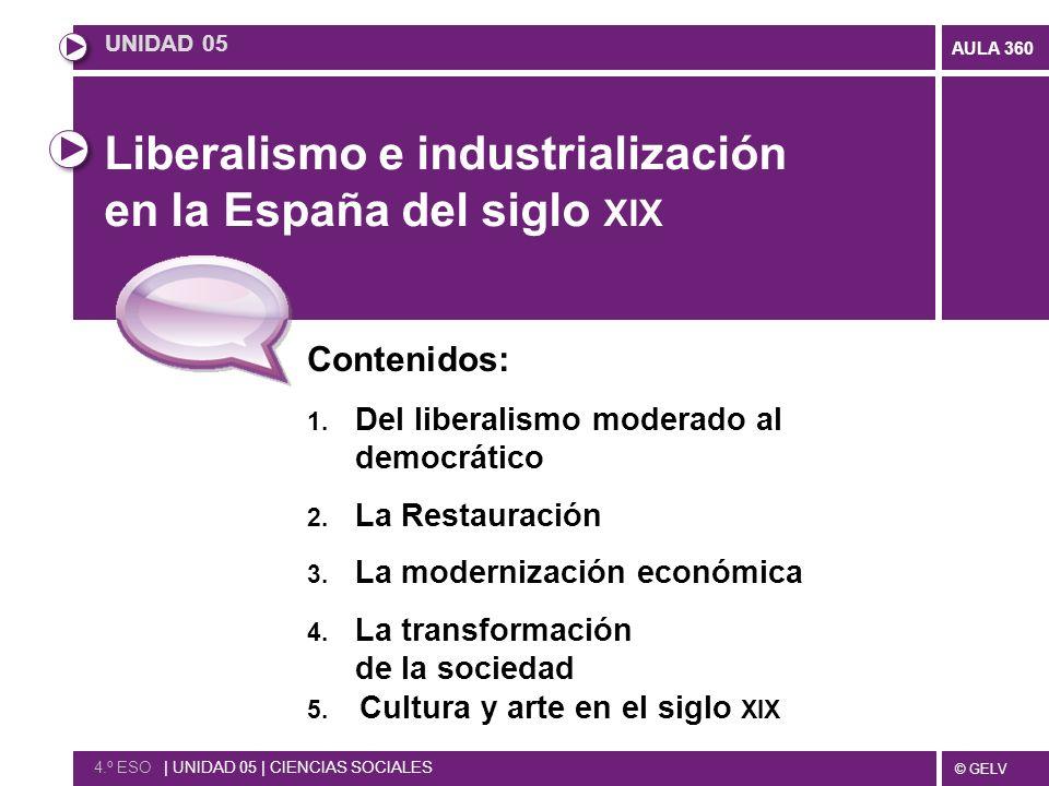 © GELV AULA 360 Liberalismo e industrialización en la España del siglo XIX Contenidos: 1. Del liberalismo moderado al democrático 2. La Restauración 3