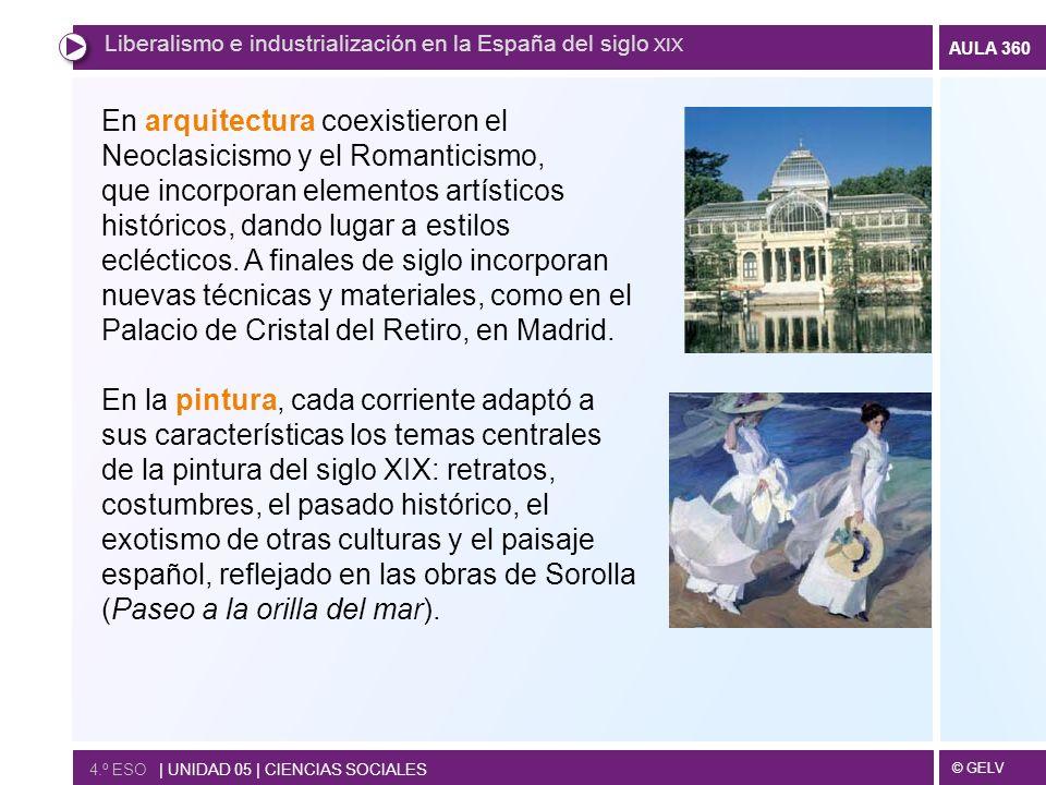 © GELV AULA 360 4.º ESO | UNIDAD 05 | CIENCIAS SOCIALES Liberalismo e industrialización en la España del siglo XIX En arquitectura coexistieron el Neo