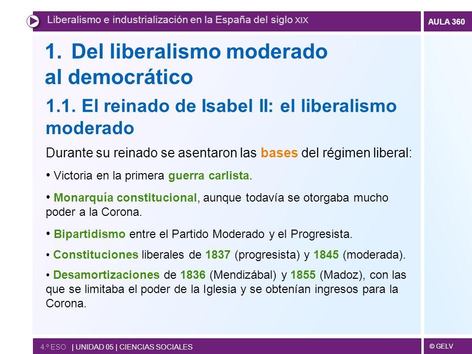 © GELV AULA 360 1.Del liberalismo moderado al democrático Liberalismo e industrialización en la España del siglo XIX 4.º ESO | UNIDAD 05 | CIENCIAS SO