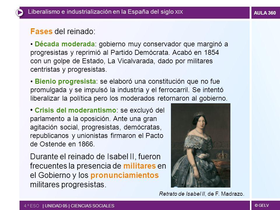 © GELV AULA 360 4.º ESO | UNIDAD 05 | CIENCIAS SOCIALES Liberalismo e industrialización en la España del siglo XIX Fases del reinado: Década moderada: