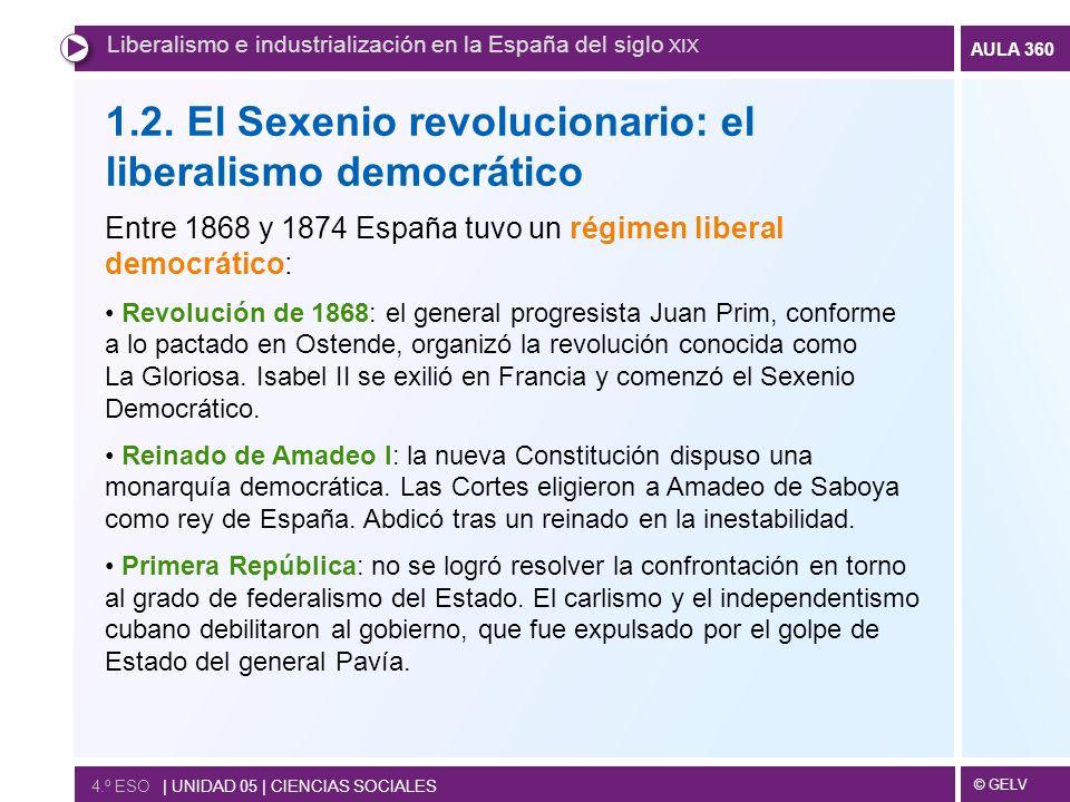 © GELV AULA 360 1.2. El Sexenio revolucionario: el liberalismo democrático Entre 1868 y 1874 España tuvo un régimen liberal democrático: Revolución de