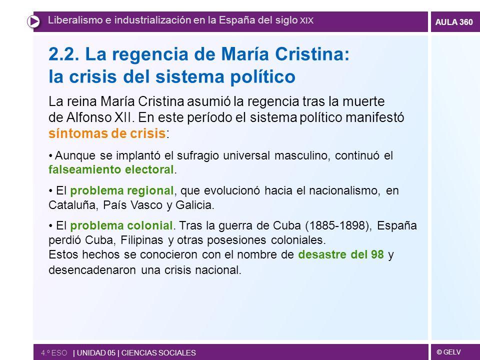 © GELV AULA 360 Liberalismo e industrialización en la España del siglo XIX 4.º ESO | UNIDAD 05 | CIENCIAS SOCIALES 2.2. La regencia de María Cristina: