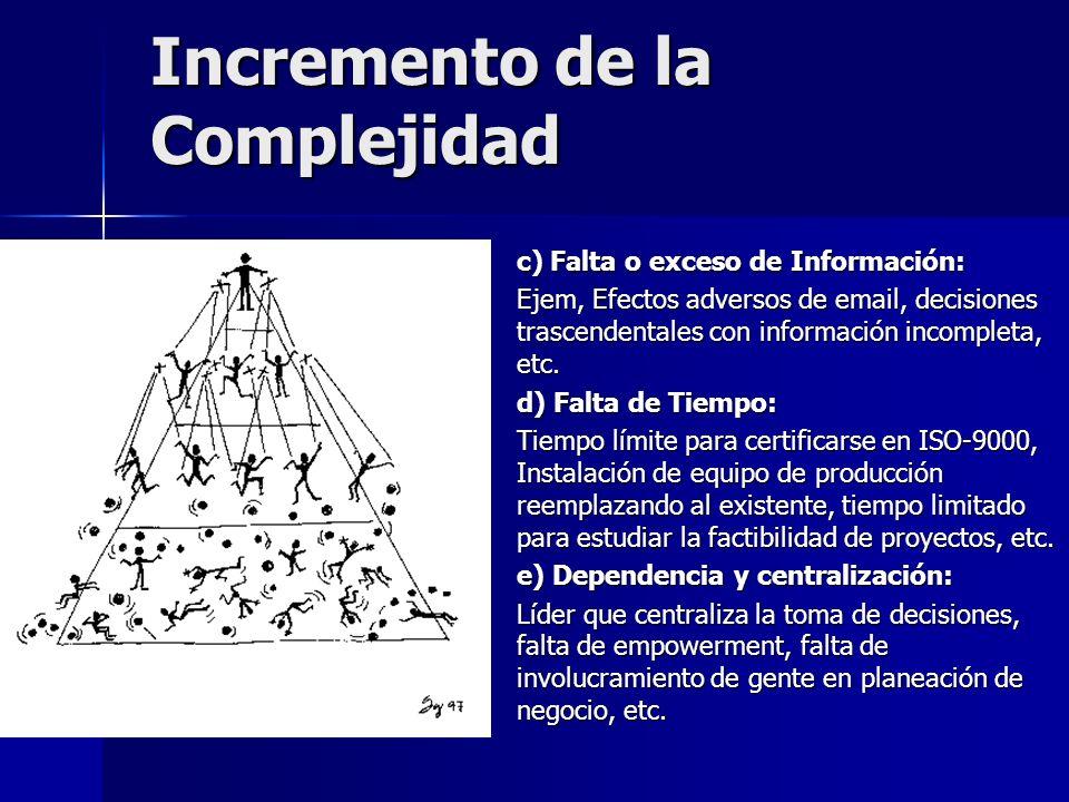 Incremento de la Complejidad c) Falta o exceso de Información: Ejem, Efectos adversos de email, decisiones trascendentales con información incompleta,