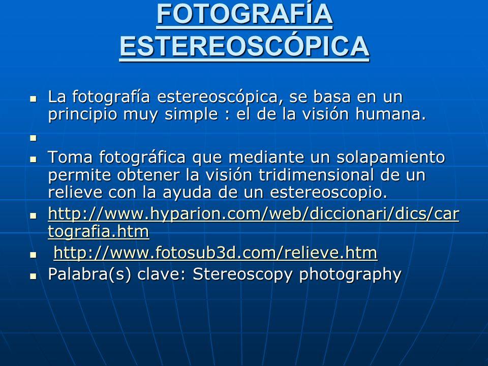 FOTOGRAFÍA ESTEREOSCÓPICA La fotografía estereoscópica, se basa en un principio muy simple : el de la visión humana.