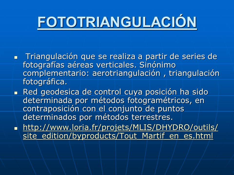 FOTOTRIANGULACIÓN Triangulación que se realiza a partir de series de fotografías aéreas verticales.