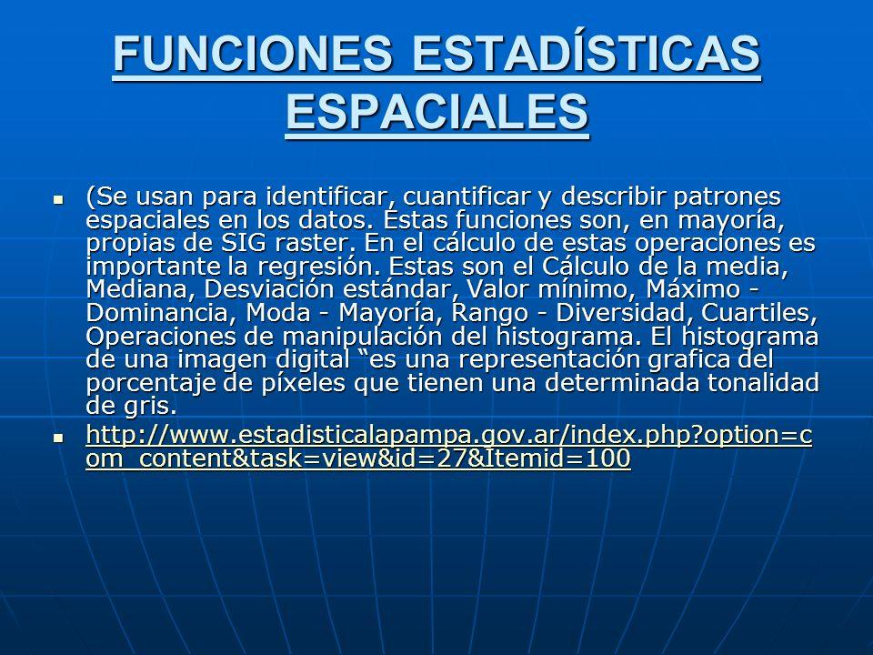 FUNCIONES ESTADÍSTICAS ESPACIALES (Se usan para identificar, cuantificar y describir patrones espaciales en los datos.