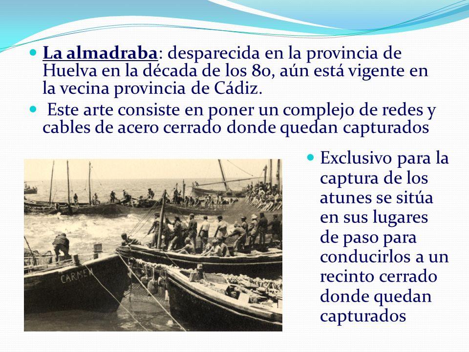La almadraba: desparecida en la provincia de Huelva en la década de los 80, aún está vigente en la vecina provincia de Cádiz. Este arte consiste en po